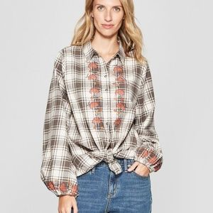 NWT Knox Rose Plaid Button Down Embroidered Shirt